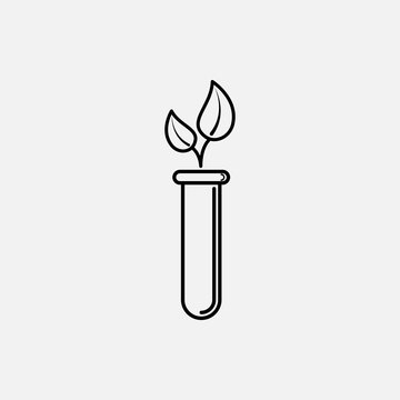 Plant in a flask outline icon. icon. Plant in a test tube outline concept symbol design. Stock - Vector illustration can be used for web.