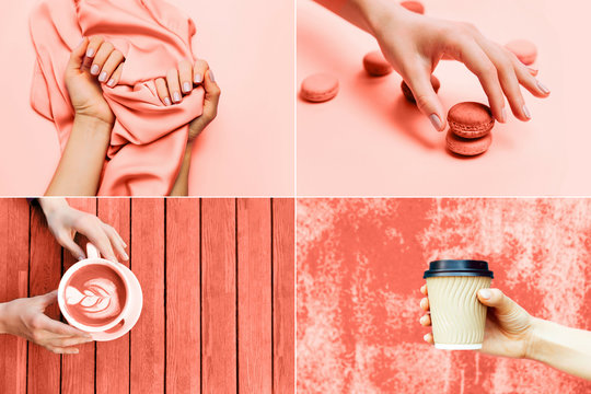 Beautiful woman manicure on creative Living Coral background with silk fabric. Concept of color of the year 2019. Top view, flat lay. Copy space for your text.