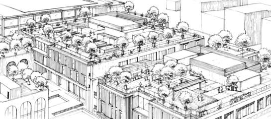 Architectural Hand Rendering Buildings with Line Art- City Scape - Landscape Arc