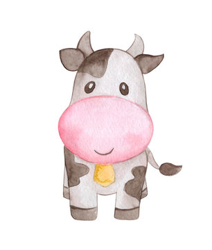 Cow farm animal watercolor. Hand-painted isolated