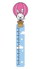 child wall meter. Cute rabbit in hot air balloon