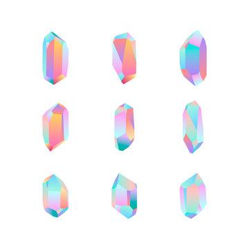 set of nine crystal design elements