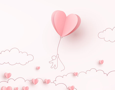 Heart flying balloon with man on pink background. Vector love postcard for Happy Mother's, Valentine's Day or birthday greeting card design.