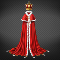 Fototapeta Royal garment 3d realistic vector with king or emperor golden crown decorated precious stones, red cape and royal mantle with ermine fur illustration isolated on transparent background. Monarch cloth obraz