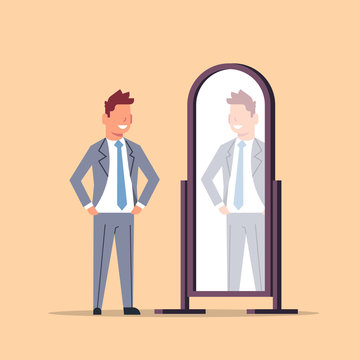 businessman trying on new business suit elegant man looking at mirror male cartoon character full length flat