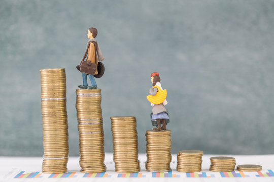 Miniature business people stand on pile of money coin, Travel saving and planing concept.