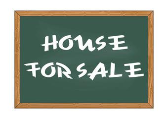 House for sale chalkboard notice Vector illustration for design