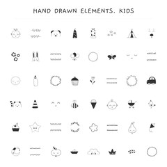 Big vector set of hand drawn elements for children related businesses.