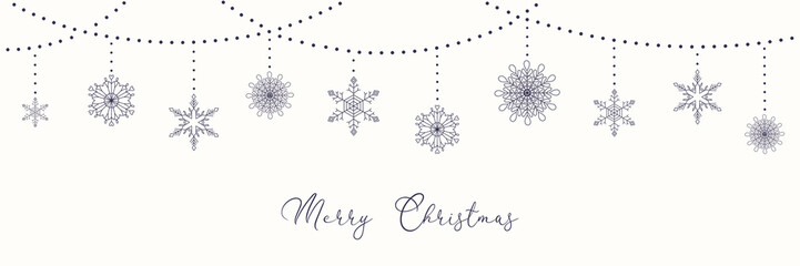 Christmas background with garlands and hanging snowflakes, typography, on white. Vector illustration. Flat style design. Concept for winter holiday banner, greeting card, decorative element.