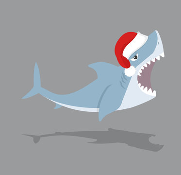 Cute Shark open mouth with red hat