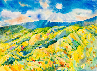Sun, mountain and meadow in the Panorama view.