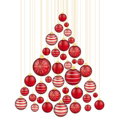 Hanging Red Baubles Christmas Tree