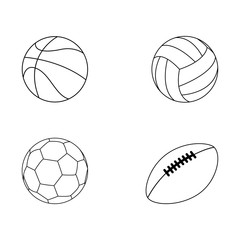 Set of sport ball vector collection isoated on white background. Vector illustration. american Football, soccer, basketball, volleyball. Line style.
