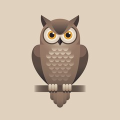 Cute owl illustration on light brown background.