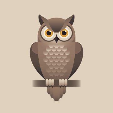 Cute owl illustration on light brown background.