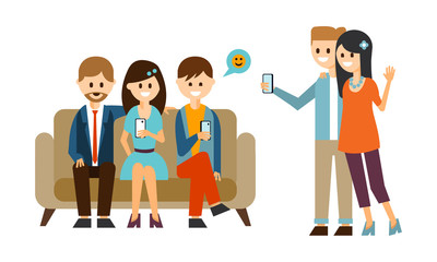 Group of young people sitting on sofa and using mobile phones. Couple making selfie with smartphone. Flat vector design