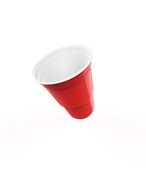 Red plastic party cups set, isolated on white background. 3d illustration