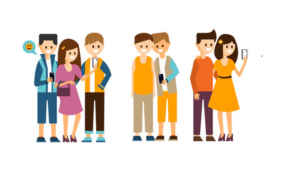 Groups of people with smartphones making selfies. Young smiling girls and guys. Flat vector design