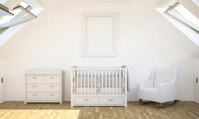 poster mockup on baby room