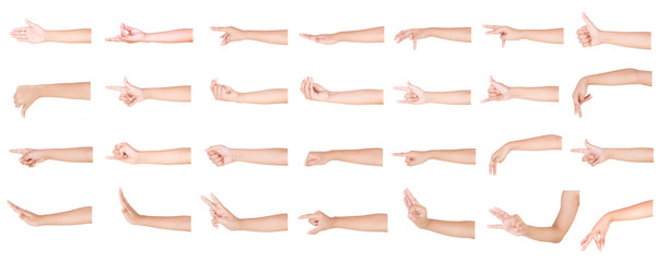Multiple boy caucasian hand gestures isolated over the white background, set of multiple images