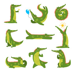 Friendly crocodile in different poses set, funny predator cartoon character vector Illustration on a white background