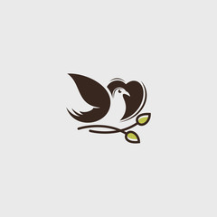 Vector logo of Love, Leaves, birds icon line art picture