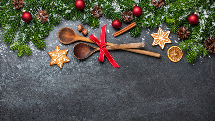 Christmas background with wooden spoons and decorations