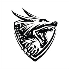head of a dragon in the form of a shield illustration, emblem design on a light background.