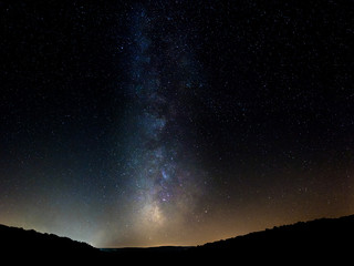 Milky way Night sky from Lake Barrocus in Isili  town in the historical region of Sarcidano, province of South Sardinia.