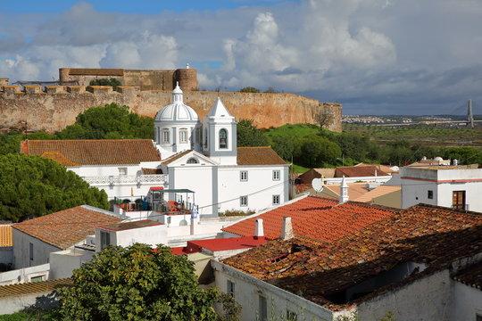 The castle and the church of the village of Castro Marim, Algarve, Portugal