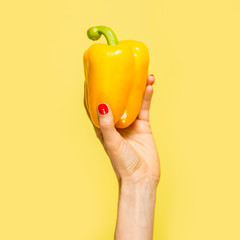 Yellow pepper in hand. Yellow on yellow