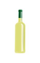Bottle of White Wine Isolated on Blank Background.