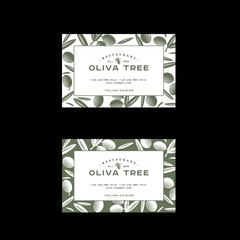 Oliva tree logo at engraving Style. Olive illustration with letters. Business Card. Pattern of Ripe olives and leaves on a green background.