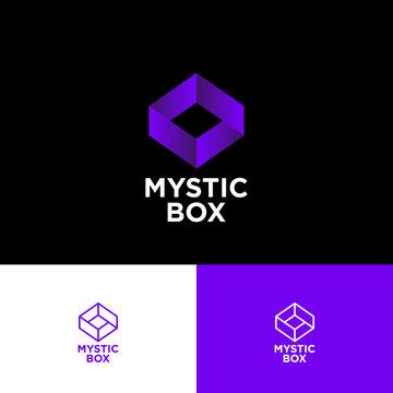 Mystic box logo. Impossible box consist of Violet ribbon on a black background. Monochrome option. Web, UI icon.
