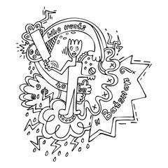 batsman playing cricket doodle vector illustration