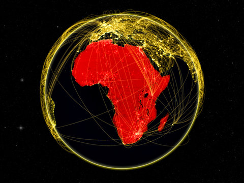 Africa on dark Earth with networks. May be representing air traffic, telecommunications or other communication network.
