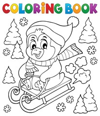 Coloring book sledging penguin theme 1