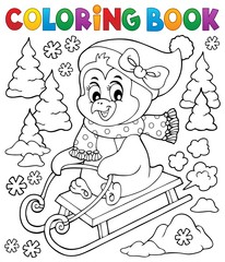 Coloring book sledging penguin theme 2