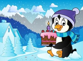 Penguin holding cake theme image 3
