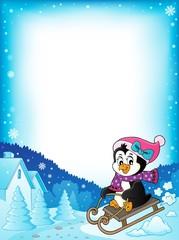 Sledging penguin theme frame 2