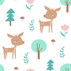Seamless pattern with deer, spruce, mushroom, tree, plant, flower. Creative woodland background. Perfect for kids apparel, fabric, textile, nursery decoration, wrapping paper. Vector Illustration.
