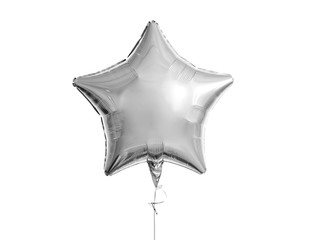 holidays, birthday party and decoration concept - one metallic silver star inflated helium balloon over white background