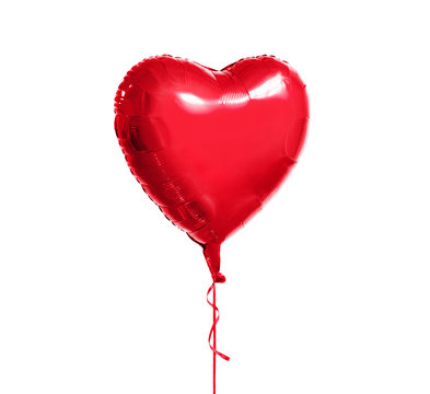 holidays, valentines day and party decoration concept - metallic foil red helium heart shaped balloon over white background