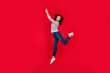 Full length size body photo of  in delight come off land in height glad attractive she her girl wearing white striped casual sweater on red vivid bright background