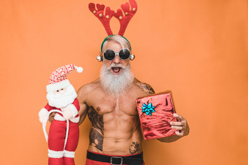 Fashion tattoo Santa Claus wearing party sunglasses