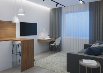 Design a small room with a sofa. Night. Evening lighting. 3D rendering.