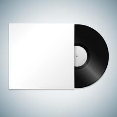 vector vinyl record cover mockup.