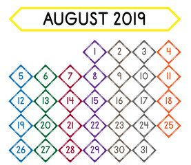 Detailed daily calendar of the month of August 2019