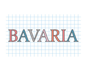 Bavaria word on checkered paper texture- vector illustration