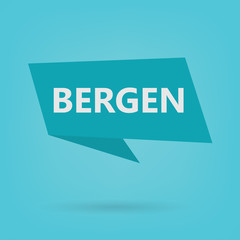 Bergen word on a sticker- vector illustration